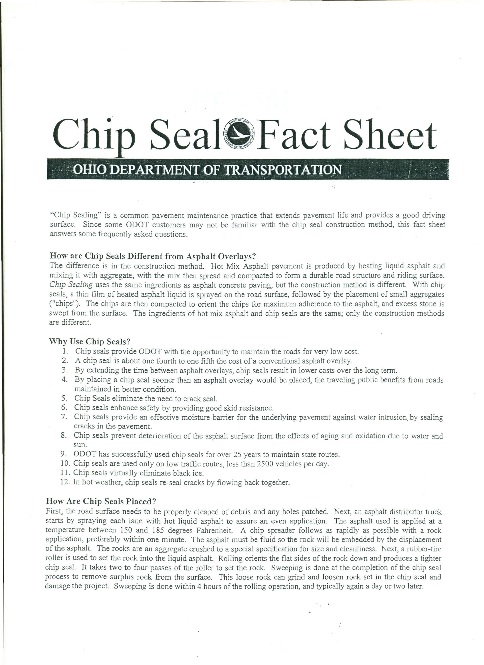 Chip Seal Fact Sheet Page