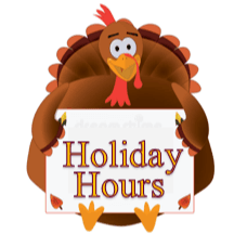 turkey holding a sign saying holiday hours