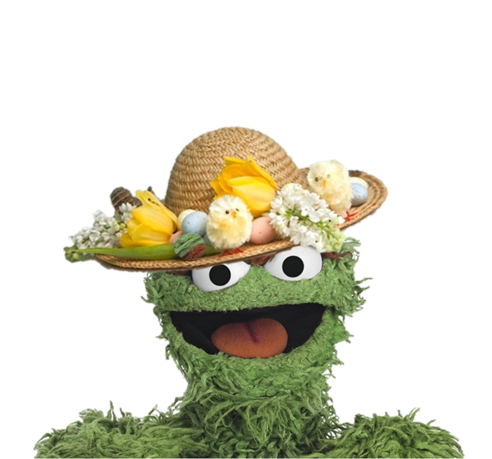 Oscar the Grouch wearing an Easter Bonnet